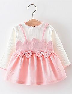 billige Babykjoler-baby pige solid farvet farvebluse kjole, polyester forår sommer lange ærmer gul rødme pink grøn 70 80 100 90