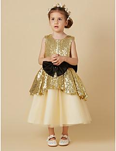 cheap Flower Girl Dresses-Princess Tea Length Flower Girl Dress - Tulle Sequined Sleeveless Jewel Neck with Bow(s) Sash / Ribbon by LAN TING BRIDE®