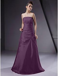 billige Romantisk rosa-A-linje / Prinsesse Stroppeløs Gulvlang Taft Brudepikekjole med Perlearbeid / Sidedrapering av LAN TING BRIDE®