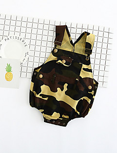 billige Babytøj-baby farve blok en-stykker, polyester sommer ærmerøs hær grøn 66 70 80 100 90