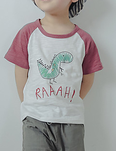 billige Overdele til drenge-Drenge Daglig Ferie Trykt mønster T-shirt, Bomuld Polyester Sommer Kortærmet Basale Lilla Kakifarvet