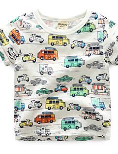billige Overdele til drenge-Drenge Daglig Ferie Trykt mønster T-shirt, Bomuld Sommer Kortærmet Aktiv Hvid