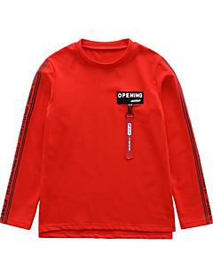 tanie Odzież dla chłopców-T-shirt Bawełna Dla chłopców Jendolity kolor Litera Wiosna Jesień Długi rękaw Prosty Urocza Aktywny White Black Czerwony