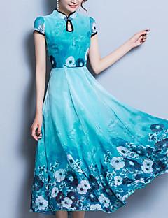 baratos Vestidos de Mulher-Mulheres Tamanhos Grandes Para Noite Temática Asiática Delgado balanço Vestido Floral Gola Redonda Médio Azul