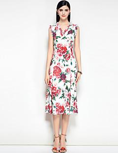 お買い得  レディースドレス-女性用 キュート ストリートファッション ボヘミアン スウィング ドレス フラワー ミディ