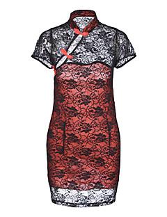 billige Moteundertøy-Dame Dress Uniformer og kinesiske kjoler Nattøy - Fargeblokk, Uthult Trykt mønster