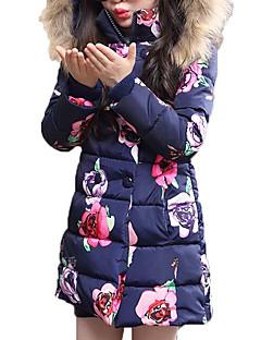 billige Jakker og frakker til piger-Pige dun- og bomuldsforet Blomstret, Polyester Vinter Alle årstider Langærmet Pænt tøj Lyserød Navyblå
