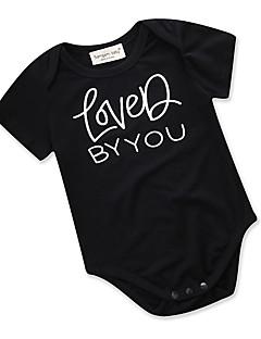 billige Babytøj-Baby Pige En del Daglig I-byen-tøj Ensfarvet Geometrisk, Bomuld Polyester Sommer Kort Ærme Sødt Aktiv Sort