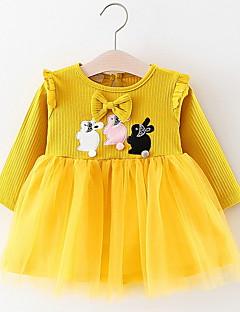 billige Babykjoler-baby pige daglige blomsterkjole, polyester sommer lange ærmer gul rødme pink hvid 70 80 100 90