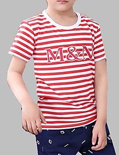tanie Odzież dla dziewczynek-Dla obu płci Codzienny Prążki Nadruk T-shirt, Modalny Wiosna Lato Krótki rękaw Urocza Czerwony