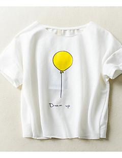 billige Overdele til drenge-Drenge Daglig Ferie Geometrisk T-shirt, Bomuld Polyester Sommer Kortærmet Basale Hvid Lysegrå