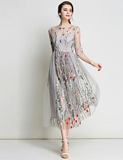 Per donna Per eventi   Per uscire Moda città   sofisticato Linea A   Swing  Vestito - Con ricami dd465b60584