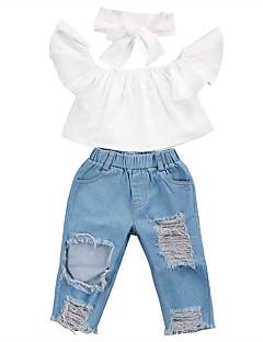 billige Tøjsæt til piger-Pige I-byen-tøj Ferie Ensfarvet Tøjsæt, Polyester Spandex Forår Sommer Kortærmet Punk & gotisk Gade Lyseblå