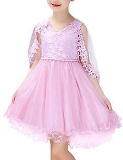 tanie Odzież dla dziewczynek-Sukienka Rayon Poliester Dziewczyny Impreza Codzienny Kwiaty Lato Bez rękawów Urocza White Blushing Pink