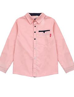 billige Overdele til drenge-Drenge Daglig Prikker Skjorte, Bomuld Polyester Forår Efterår Langærmet Basale Hvid Lyserød Lyseblå