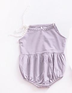 billige Babytøj-Baby Pige En del Daglig Ferie Ensfarvet, Bomuld Polyester Sommer Uden ærmer Aktiv Lysegrå