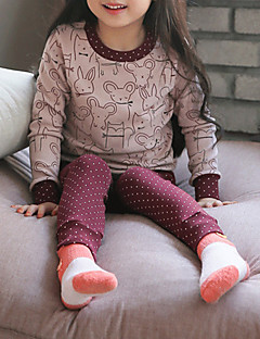 billige Undertøj og sokker til piger-Pige Nattøj Stribet, Bomuld Langærmet Simple Lyserød