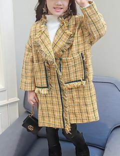tanie Odzież dla dziewczynek-Bluzka Poliester Dla dziewczynek Pled Zima Długi rękaw Urocza Yellow
