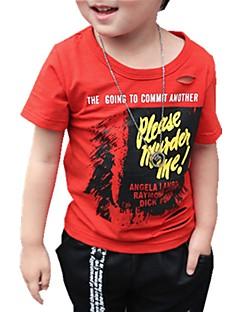 billige Overdele til drenge-Drenge Daglig Trykt mønster T-shirt, Bomuld Forår Sommer Kortærmet Aktiv Grøn Hvid Rød