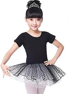 tanie Stroje baletowe-Balet Suknie Dla dziewczynek Szkolenie Wydajność Bawełna Koronka Krótki rękaw Naturalny Ubierać
