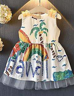 billige Babykjoler-baby pige daglige geometriske kjole, polyester sommer søde ærmerøs hvid 140 130 120 110 100