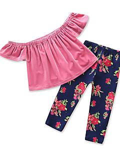 billige Tøjsæt til piger-Pige Daglig Ferie Ensfarvet Blomstret Trykt mønster Tøjsæt, Bomuld Polyester Sommer Kortærmet Sødt Aktiv Lyserød