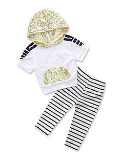 billige Tøjsæt til piger-Baby Pige Sort og hvid Stribet Kortærmet Tøjsæt