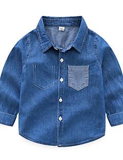 billige Overdele til drenge-Børn / Baby Drenge Ensfarvet Langærmet Skjorte