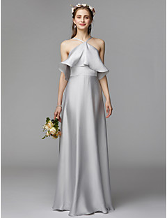 A Line Halter Neck Floor Length Charmeuse Satin Chiffon Bridesmaid Dress With Ruffles By Lan Ting Bride Beautiful Back