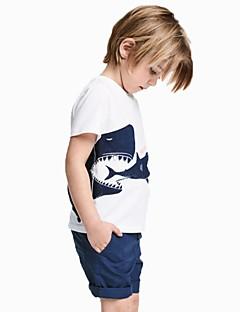 billige Overdele til drenge-Børn / Baby Drenge Blå & Hvid Trykt mønster Kortærmet T-shirt