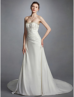 cheap High-end Wedding Dresses-A-Line Strapless Chapel Train Taffeta Made-To-Measure Wedding Dresses with Beading / Appliques / Side-Draped by LAN TING BRIDE®