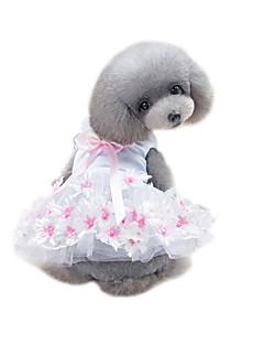 billiga Hundkläder-Husdjur Klänningar Hundkläder Enfärgad / Voiles & Skira / Blomma Purpur / Rosa Bomull / Polyester / Nät Kostym För husdjur Blomstil /