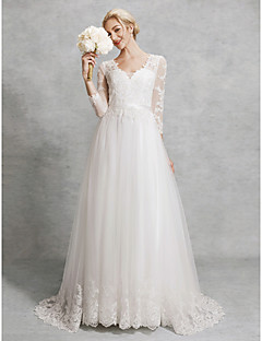 A Line V Neck Court Train Lace Tulle Made To Measure Wedding Dresses With Liques Sashes Ribbons By Lan Ting Bride Illusion Sleeve Beautiful