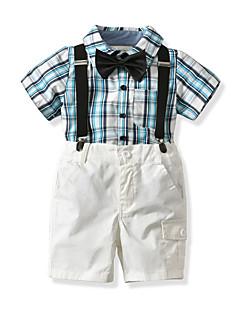 billige Tøjsæt til drenge-Baby Drenge Farveblok Ruder Kortærmet Tøjsæt