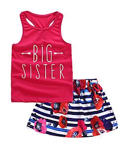 billige Sett med babyklær-Baby Pige Farveblok Uden ærmer Tøjsæt