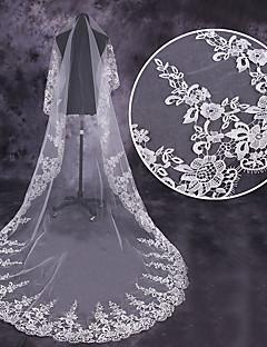 billiga Brudslöjor-Ett lager Blomstil / Mesh / Konvertibel klänning Brudslöjor Kapell Slöjor med Utspridda pärlbroderi blommotiv 110.24 in (280cm) Tyll / Oval