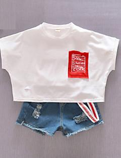billige Overdele til drenge-Børn Pige Drenge Trykt mønster Farveblok Kortærmet T-shirt