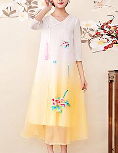 Χαμηλού Κόστους 8CFAMILY-Γυναικεία Βίντατζ / Εκλεπτυσμένο Swing Φόρεμα - Συνδυασμός Χρωμάτων, Κεντητό Μίντι