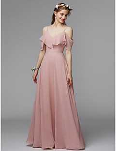 A Line Spaghetti Strap Floor Length Chiffon Charmeuse Bridesmaid Dress With Ruffles By Lan Ting Bride Open Back
