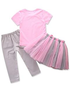 billige Tøjsæt til piger-Baby Pige Ensfarvet / Farveblok Kortærmet Tøjsæt