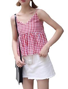 billige Skjorte-Dame - Ensfarvet Kvast Vintage Skjorte Blå & Hvid
