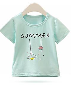 billige Pigetoppe-Børn Pige Aktiv Trykt mønster Trykt mønster Kortærmet Bomuld T-shirt