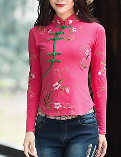 billige T-shirt-Rund hals Dame - Blomstret I-byen-tøj T-shirt
