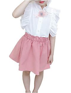 billige Tøjsæt til piger-Børn Pige Jacquard Vævning Kortærmet Tøjsæt