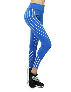 billiga Träning-, jogging- och yogakläder-Dam Yoga byxor - Fuchsia, Ljusgrå, Blå sporter Rand Cykling Tights / Leggings Sportkläder Dans, Snabb tork Elastisk