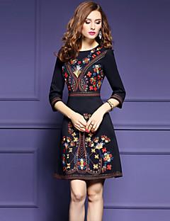 billige Minikjoler-Dame Vintage / Sofistikerede A-linje Kjole - Blomstret, Broderi Mini