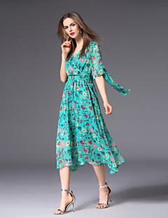 Χαμηλού Κόστους Γυναικεία Φορέματα-Γυναικεία Χαριτωμένο / Βασικό Γραμμή Α Φόρεμα - Φλοράλ, Στάμπα Ως το Γόνατο