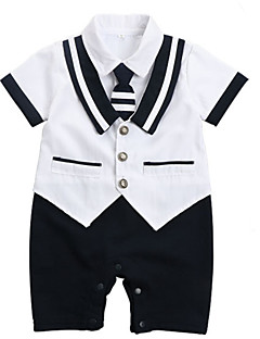 billige Babytøj-Baby Pige Farveblok Kort Ærme En del