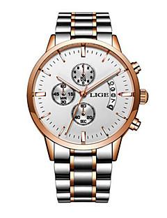 billige Rustfrit stål-Herre Kjoleur Japansk Kronograf / Vandafvisende Rustfrit stål Bånd Luksus / Mode Sort / Sølv / Guld