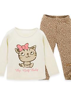 billige Sett med babyklær-Baby Unisex Trykt mønster Langærmet Tøjsæt